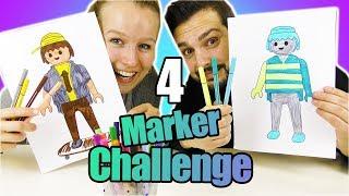 4 MARKER CHALLENGE mit Playmobil! Kaan VS Kathi malen Figuren aus! Wer kann besser malen?