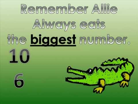 photograph relating to Greater Than Less Than Alligator Printable known as Larger sized Than or Much less Than with Allie the Alligator