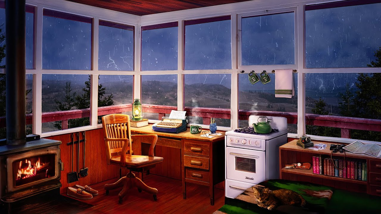 Cozy Cabin Ambience - Writer's Room with 8 Hours of Rain, Thunder and Fire Sounds
