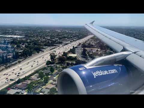 Approach and Landing Long Beach LGB - JetBlue A320