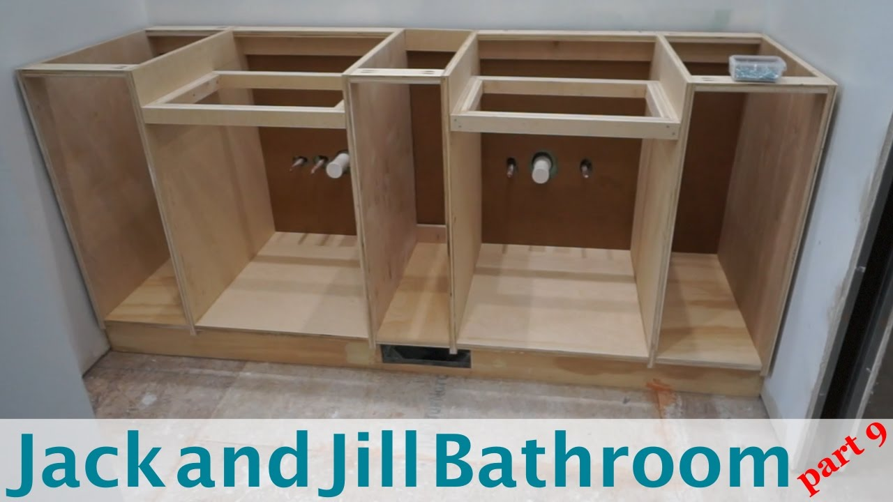 Building vanity cabinets jack and jill bathroom part 9 for Jack and jill bathroom vanity