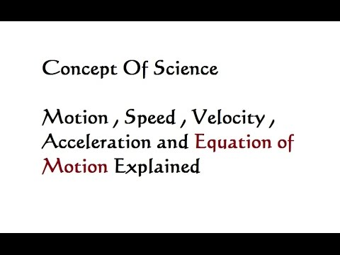 Motion Speed Velocity Acceleration Equation of Motion