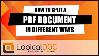 How to split a PDF document in different ways