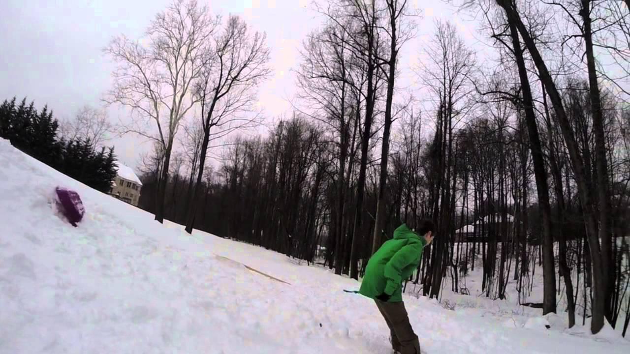 Snowboard backyard terrain park - YouTube
