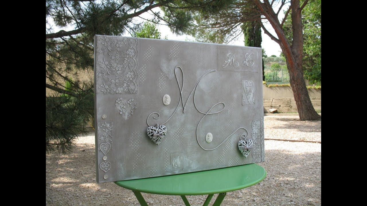 Art hobby video des initiales dentelle coeurs for Deco de table shabby