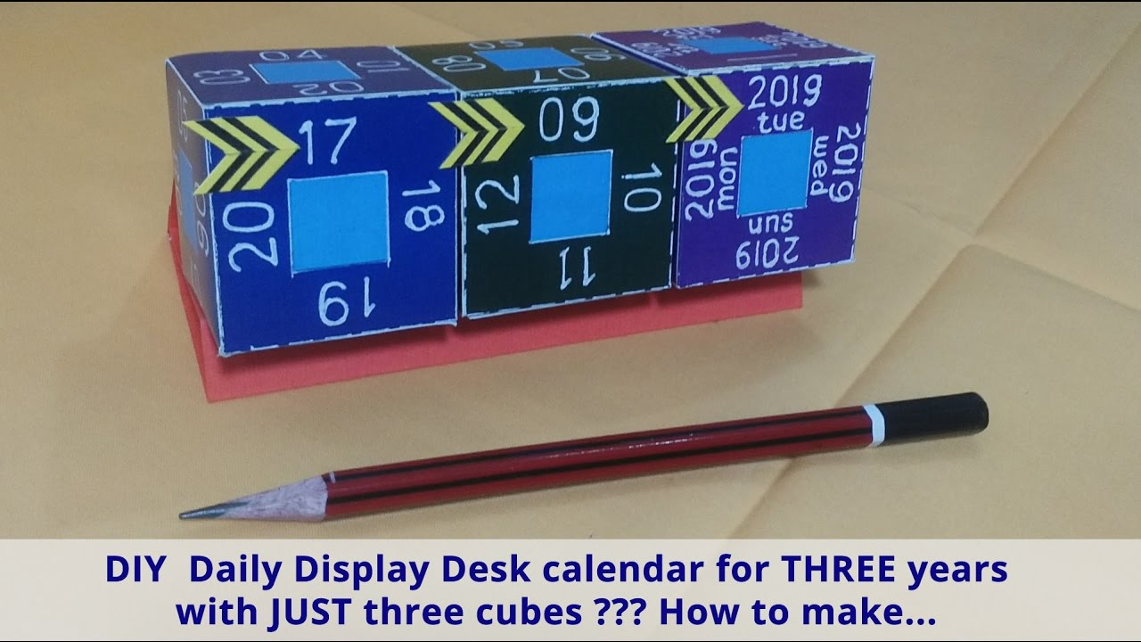 Diy Calendar Cubes : Diy daily display desk calendar for years with just