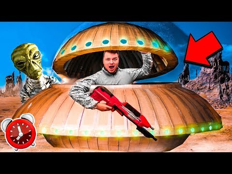 24 Hour Box Fort UFO ESCAPE! Sleep Pods, Aliens, Nerf & More
