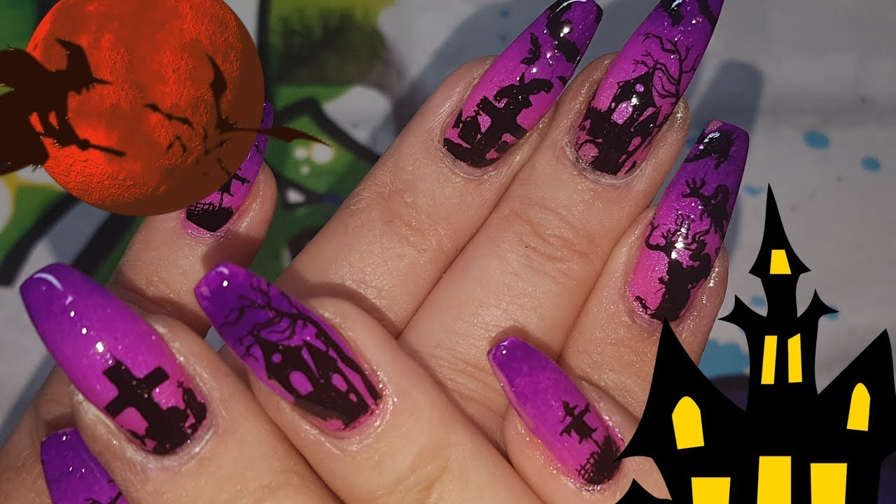 Purple And Pink Halloween Nails 3 For 2018 Youtube
