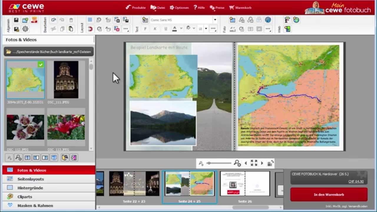 Karte Mit Markierungen Erstellen Kostenlos.Landkarten Einfügen Und Routen Darstellen Version 6 Cewe Fotobuch
