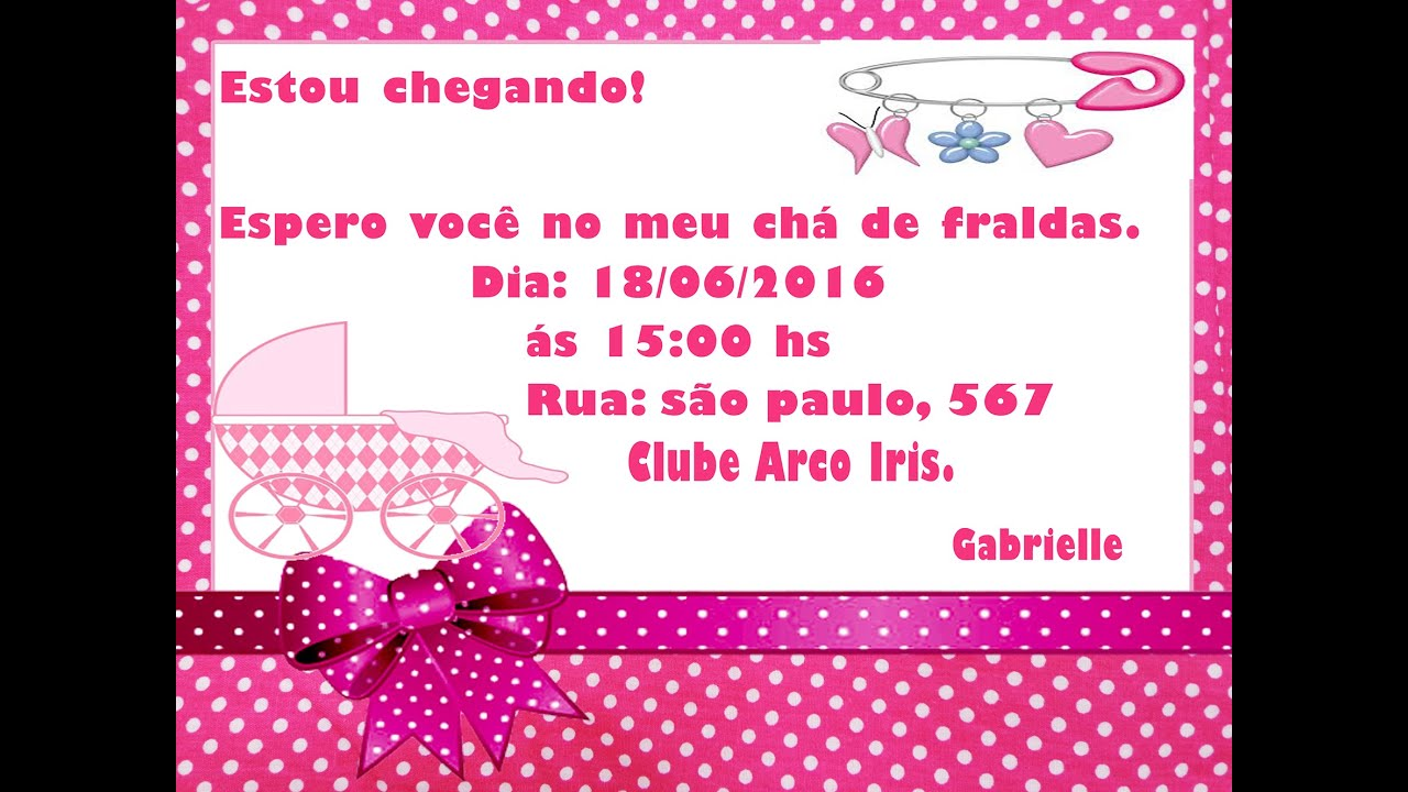 Top Como fazer Convite de Chá de Fraldas Menina no Word.❤ - YouTube OW58