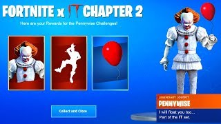 "GET FREE ""IT 2"" ITEMS in Fortnite *PENNYWISE SKIN and CHALLENGES* (Fortnite x IT Chapter 2)"