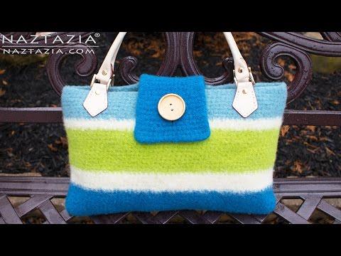 DIY Tutorial - Crochet a Felted Handbag using the Fulling Process - Felting Bolsa Bags