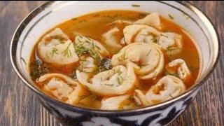 Суп с пельменями Чучвара Тушбера Таджикская кухня