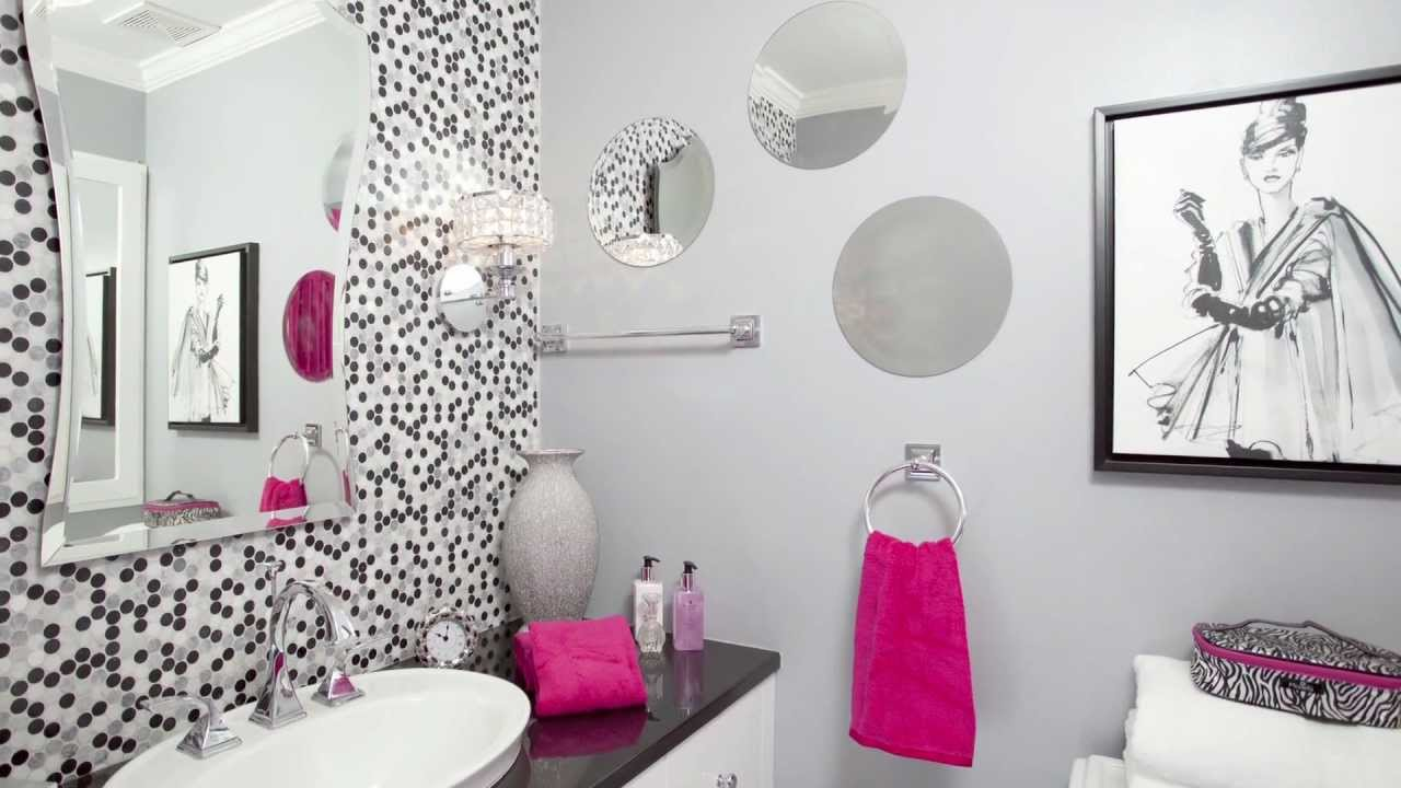 Remodeled Bathroom Designed For A Teenage Girl Features Penny Round Tiles And Hot Pink Accessories You