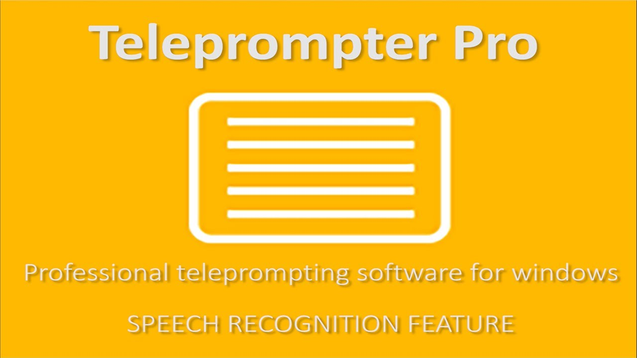Teleprompter Pro For Windows Speech Recognition Youtube