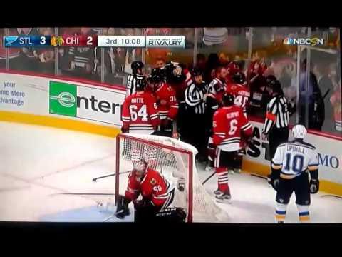 St. Louis Blues vs. Chicago Blackhawks BIG BRAWL 10-12-16/Kyle Brodziak ROUGHING PENALTY