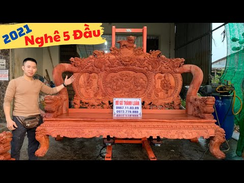 🔴 Báo Giá | Bộ Ghế Nghê Bảo Đỉnh Cột 14 (Mẫu Nghê 5 Đầu) Gỗ Hương Đá | Đồ Gỗ Thành Luân