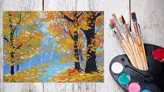 Как нарисовать золотую осень гуашью! #Dari_Art