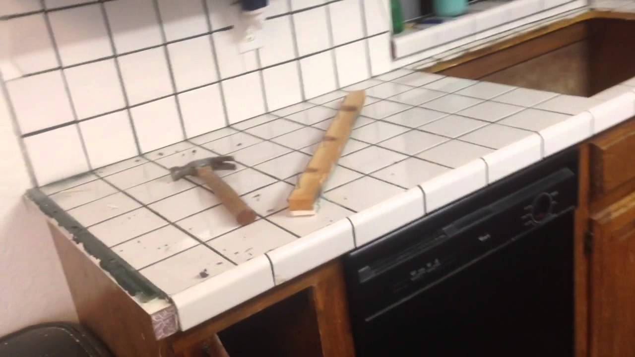 How To Remove Old Tile Countertop - YouTube