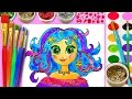 Princess Draw N Color Hair Coloring Page for Girls Paint with Sparkle Watercolor