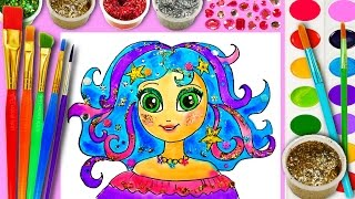 Learn How to Draw N Color for Kids Princess Hair Coloring Page for Girls Paint with Watercolor