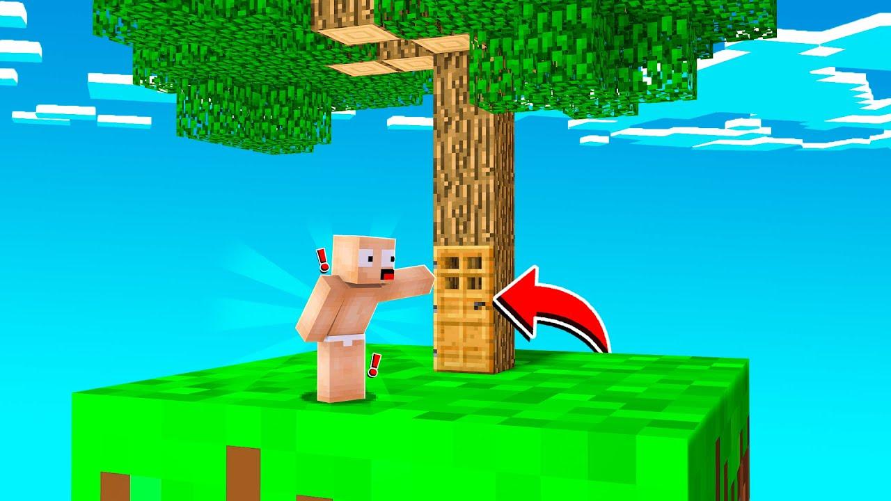 TEK BLOKTA EFSANE AĞAÇ EV YAPTIM! 😱 - Minecraft