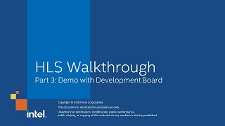 HLS Walkthrough Part 3: Demo with Development Board