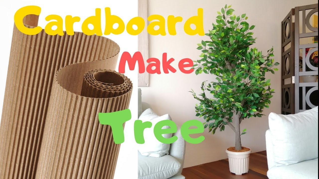 How to make Indoor Plant Tree   DIY Artificial tree with cardboard