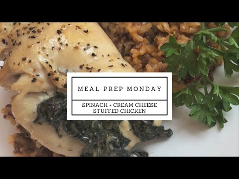 Full Recipe Spinach And Cream Cheese Stuffed Chicken   Meal Prep Monday