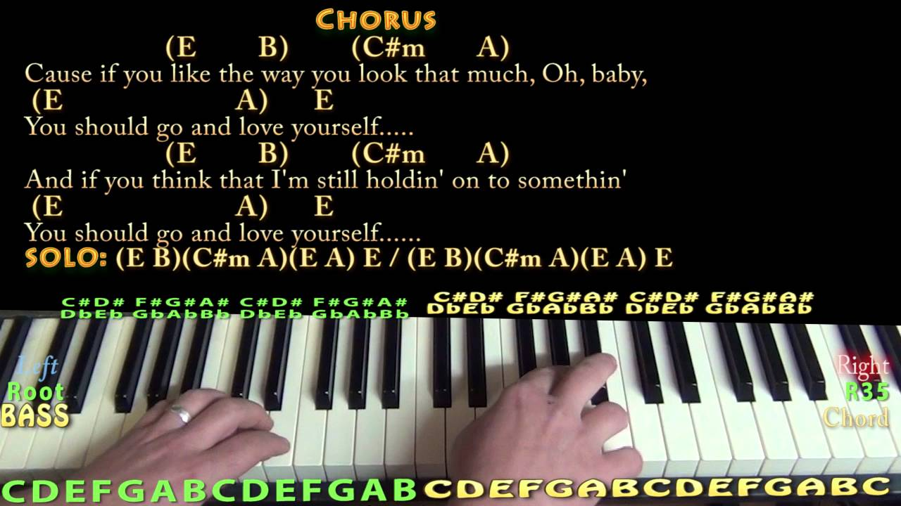 Love Yourself (Justin Bieber) Piano Cover Lesson in E with Chords/Lyrics - YouTube