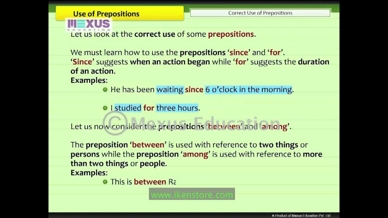 Use Of Prepositions  Youtube