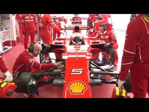 Sebastian Vettel drives SF70-H