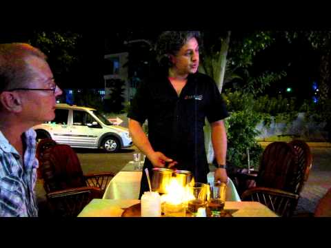 D`La Plaza, Alanya, Turkey. The best steak place in town. ( Memet making irish coffee)