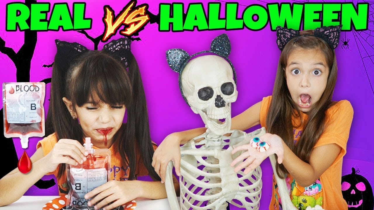 REAL FOOD vs HALLOWEEN CANDY CHALLENGE - TRICK OR TREAT