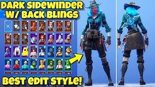 "NEW ""DARK SIDEWINDER"" SKIN Showcased With BACK BLINGS! Fortnite Battle Royale DARK SIDEWINDER STYLE"