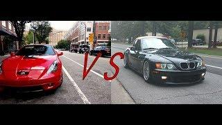 Toyota Celica(muffler delete) VS BMW Z3 (straight pipe) exhaust comparison