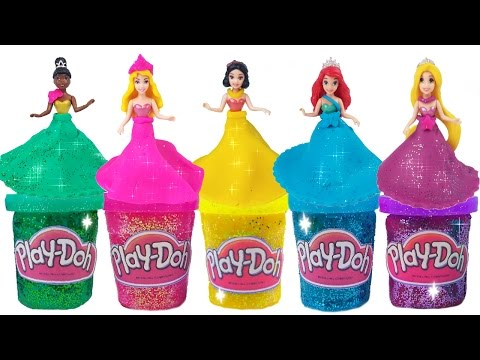 DIY Play Doh Glitter Disney Princess Dresses Magiclip Modeling Clay for Kids Princess Dress