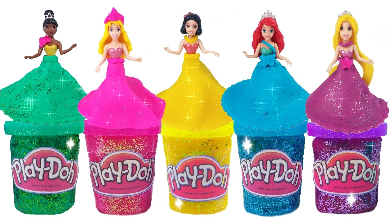 DIY Play Doh Glitter Disney Princess Dresses Magiclip ...