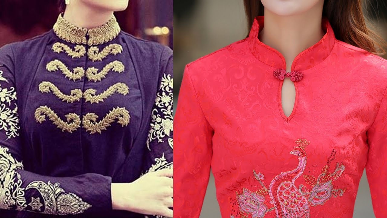 Stand Collar Neck Designs For Blouse : Stand collar neck designs for kurtis design