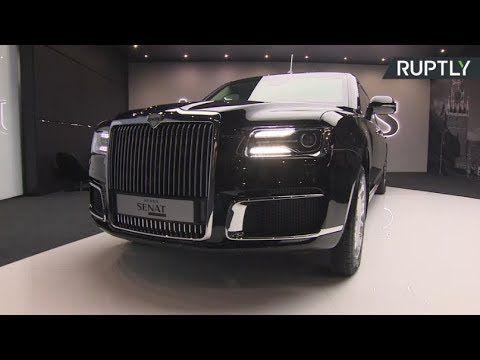 New Russian presidential car Aurus Senat presented to public at Moscow Intl Automobile Salon