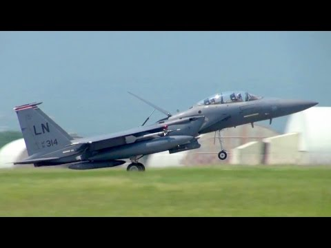 F-15 Strike Eagles Landing At Aviano Air Base, Italy.