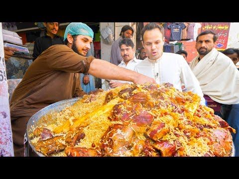 Street Food in Peshawar - GOLDEN PULAO Mountain + Charsi Tik