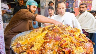 Street Food in Peshawar - GOLDEN PULAO Mountain + Charsi Tikka Kabab + Pakistani Street Food Tour!