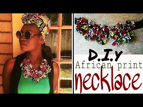 How to-diy African print Ankara flower necklace detailed start to finish easy