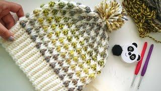 İki Renkli Bere - Tığ İşi Örgü Şapka