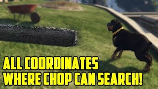 All Coordinates Where Chop Can Search/Hunt!! (GTA 5 Easter Eggs And Secrets)