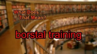 What does borstal training mean?