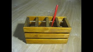 dIY.  Деревянный органайзер для ручек и карандашей своими руками (карандашница)