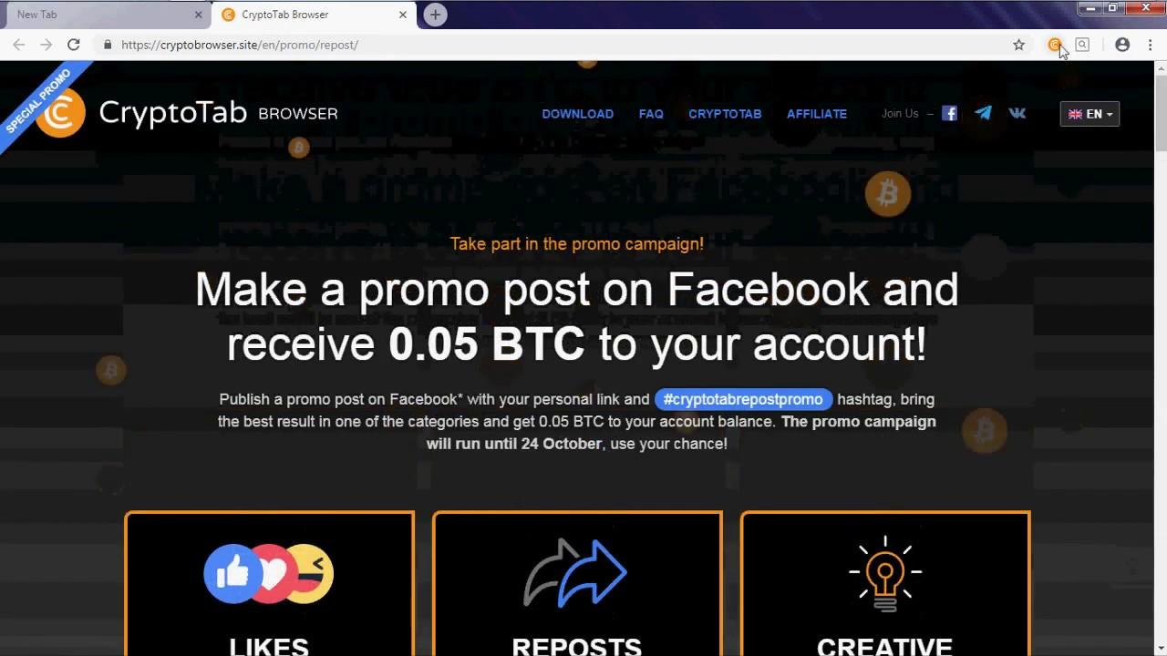 Free 0 05 BTC at Cryptotab Browser!