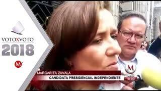 Margarita Zavala ensaya para el debate presidencial de hoy